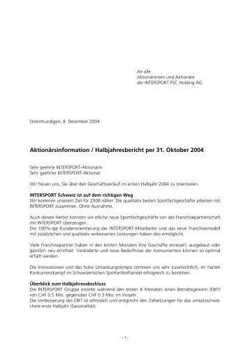 KONSOLIDIERTE BILANZ - Intersport