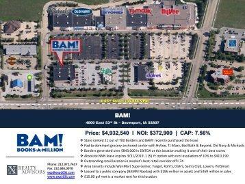 BAM! Price: $4,932,540 l NOI: $372,900   CAP: 7.56%