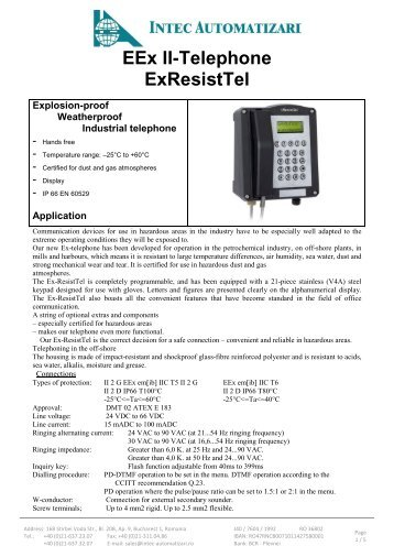 EEx II-Telephone ExResistTel - Acasa   Intec Automatizari