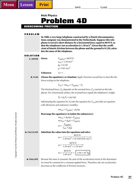 Holt Physics Problem 4D Hays High School