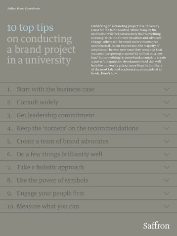 10 top tips on conducting a brand project in a university