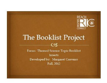 Themed Science Topic Booklist on Insects by Margaret - RITELL