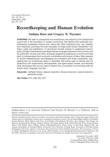 Recordkeeping and Human Evolution