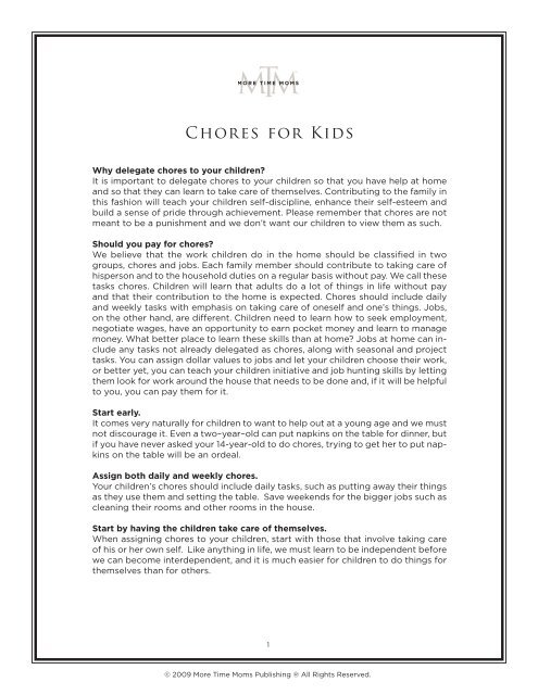 Chores For Kids More Time Moms