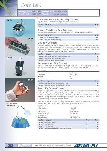 Jencons laboratory catalogue Tally counters colony counters