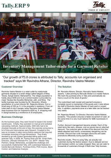 Tally.ERP 9 Inventory Management Tailor-made for a Garment ...