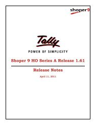 Shoper 9 HO Series A Release 1.61 Release Notes - Tally