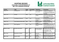 HUNTING BOOKS - Leicestershire County Council