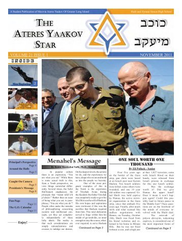 Menahel's Message - Mesivta Ateres Yaakov