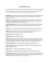 Jewish Glossary - Messianic Torah Truth-Seeker