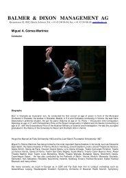Gomez-Martinez, Biography English - balmer & dixon management ag