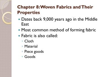 Chapter 8: Woven Fabrics And Their Properties - Margarita Benitez