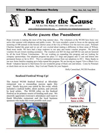 Check out our latest newsletter! - Wilson County Humane Society