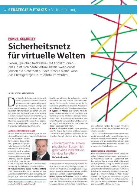 Sicherheitsnetz für virtuelle welten - InfoTrust AG