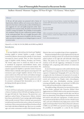 Neurosyphilis: Diagnosis and Response to Treatment ...