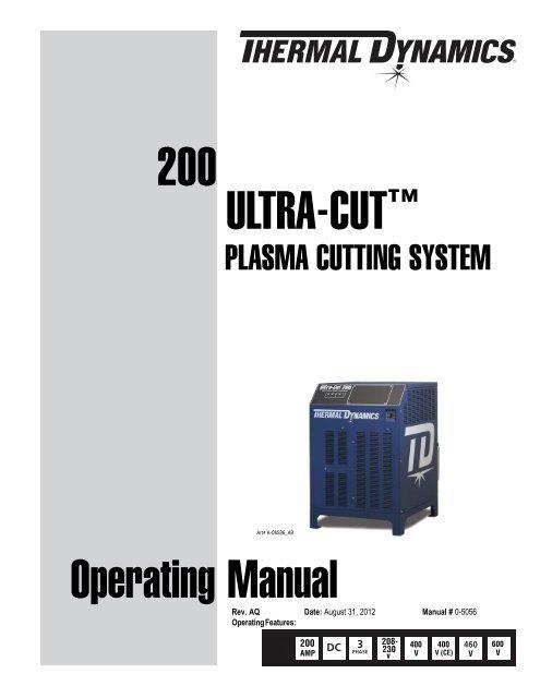 Thermal Dynamics Ultra Cut 200 Operating Manual 0 Victor