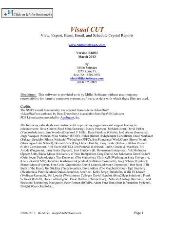 Visual CUT User Manual - Millet Software
