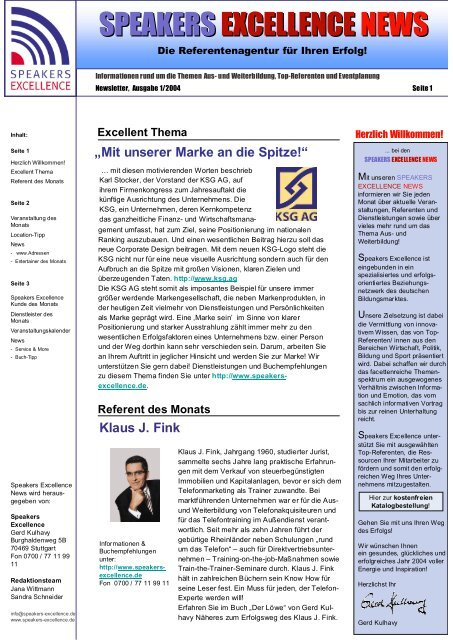 Speakers Excellence News 12/2003