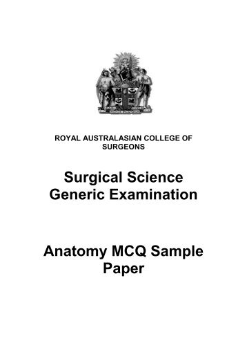 Surgical Science Generic Examination Anatomy MCQ Sample Paper