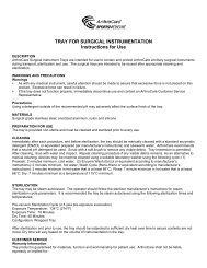 TRAY FOR SURGICAL INSTRUMENTATION Instructions for Use