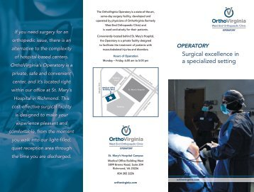 Surgical excellence in a specialized setting - OrthoVirginia