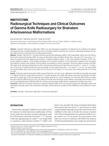 Radiosurgical Techniques and Clinical Outcomes of Gamma Knife ...
