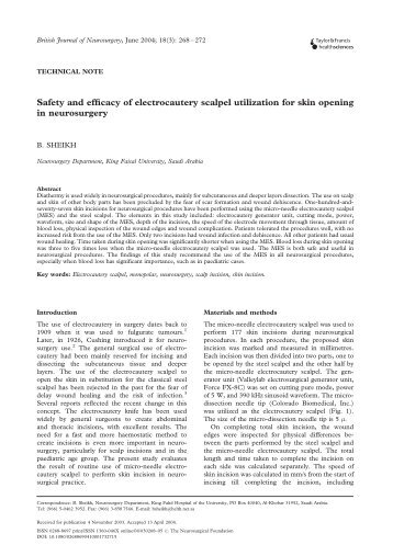 Safety and efficacy of electrocautery scalpel utilization for skin ...