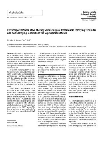 Extracorporeal Shock Wave Therapy versus Surgical Treatment in ...
