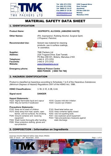 IPA Isopropyl Alcohol Isopropanol MSDS