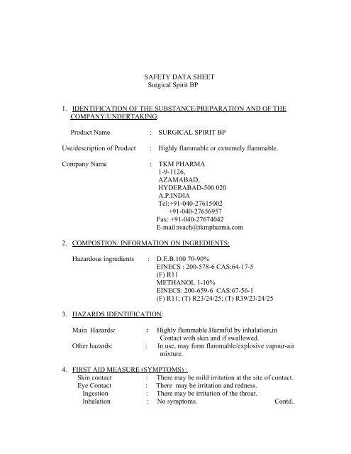 SAFETY DATA SHEET Surgical Spirit BP 1-9 - TKM Pharma