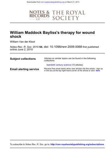 WILLIAM MADDOCK BAYLISS'S THERAPY FOR WOUND SHOCK ...