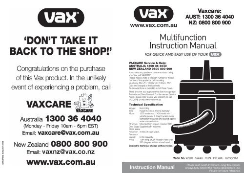 Vax Carpet Cleaner Repair Manual