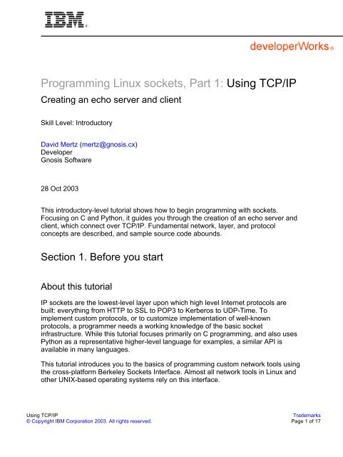Programming Linux sockets, Part 1: Using TCP/IP - IBM