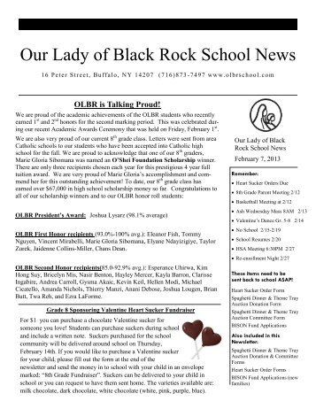 February 7, 2013 - Our Lady of Black Rock School