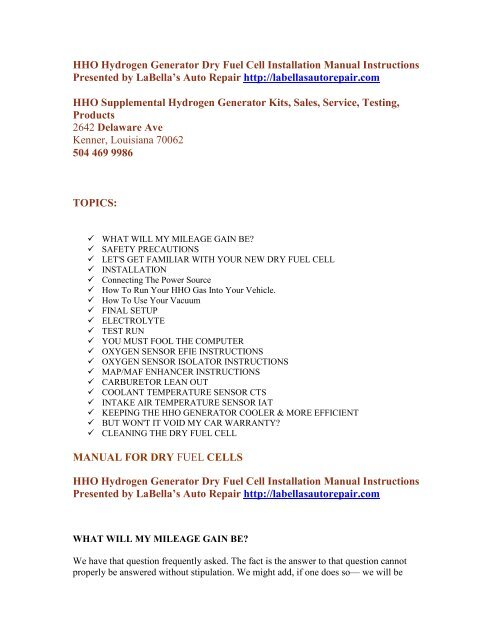 HHO dry cell installation manual instructions - LaBella's Auto Repair