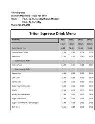 Triton Espresso Drink Menu