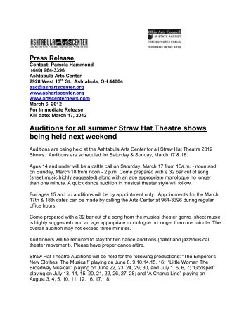 Auditions for all summer Straw Hat Theatre shows being held next . ec0fc5d55b74