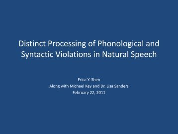 Distinct Processing of Phonological and Syntactic Violations in ...