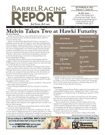 Melvin Takes Two at Hawki Futurity - Barrel Racing Report