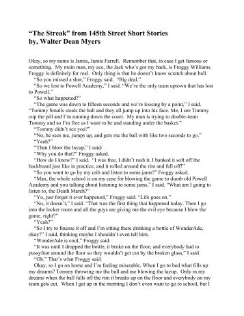 """The Streak"" from 145th Street Short Stories - Nova Middle School"
