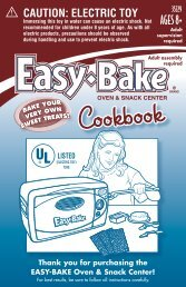 Easy Bake Oven and Snack Center Cookbook Instructions - Hasbro