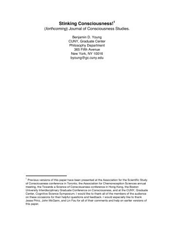 Stinking Consciousness! - Benjamin D. Young