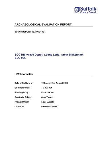 ARCHAEOLOGICAL EVALUATION REPORT SCC Highways Depot ...