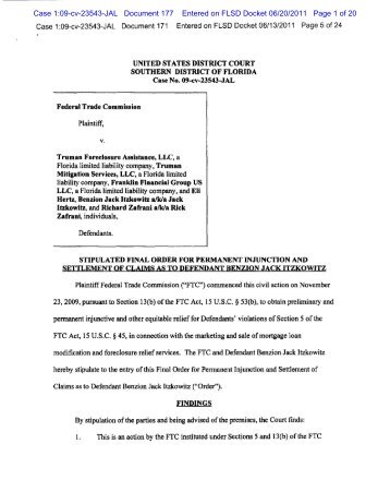 Stipulated Final Order for Permanent Injunction and Settlement of ...
