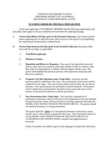 Magistrate Judge Lloyd's Standing Order re: Pretrial Preparation