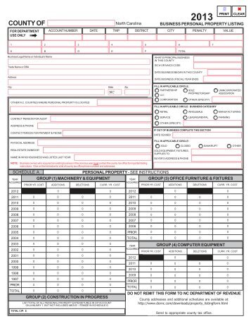Business Personal Property Listing - Department of Revenue