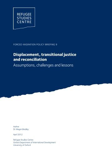 Displacement, transitional justice and reconciliation Assumptions ...