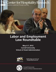 Labor and Employment Law Roundtable - Cornell School of Hotel ...