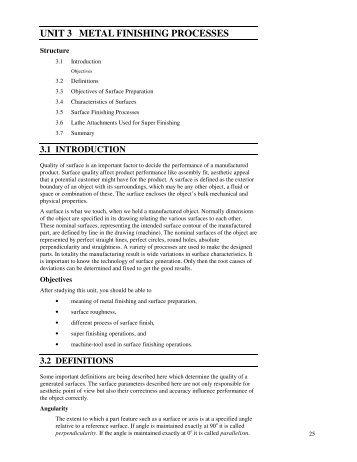 UNIT 3 METAL FINISHING PROCESSES - IGNOU