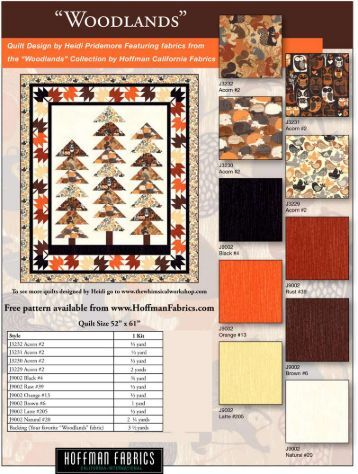 Woodlands quilt pattern - Hoffman California Fabrics